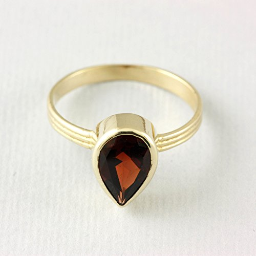 5a56683650 Pear Cut Garnet, Gemstone Gold Ring, 14K Solid Gold, January Birthstone Ring,  Natural Gemstone, Real Garnet Ring, Engagement Ring, Red Gemstone Ring, R253