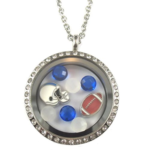 FCL Designs - Football Theme #14 Floating Charm Locket Necklace