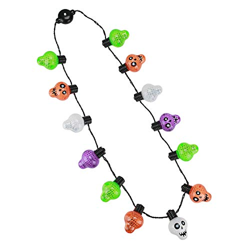Hautton Light-Up Skull Necklace, 13 LEDs Battery-Operated 6 Flashing Modes Necklace Flashing String Lights for Halloween Holiday Festival Party