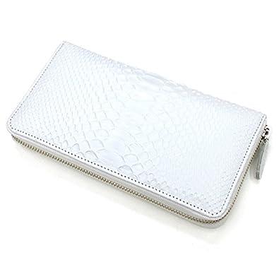 e42b8118df01 Amazon | MT1114-WHITE 白いパイソン革(蛇革)ラウンドファスナー長財布 L.size:ホワイト | バッグ・スーツケース