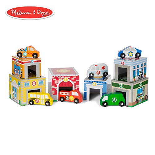 (Melissa & Doug Nesting and Sorting Blocks 6 Buildings 6 Wooden Vehicles )