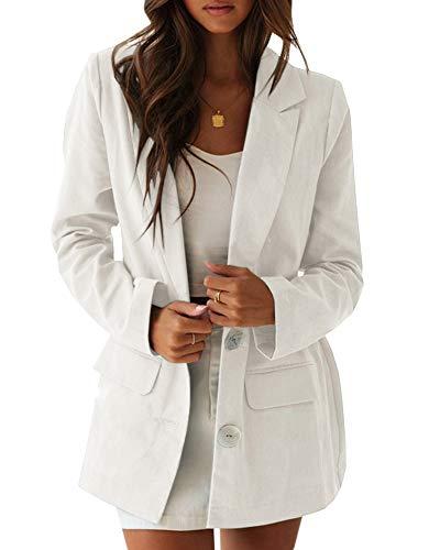 Ofenbuy Womens Casual Long Blazer Loose Fit Long Sleeve Linen Cardigan Jacket Boyfriend Blazers White