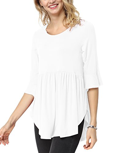3/4 Length Jeans - TongKiKi Women's Casual Scoop Neck Half Ruffle Sleeve Floral Tops Tunic,White,XL