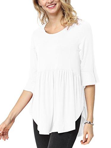 iGENJUN Women's Scoop Neck 3/4 Ruffle Detailed Sleeve Floral Tops Blouse,White,M (3/4 Top Sleeve Neck Scoop)