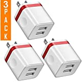 USB Charger, 2.1A/5V Dual 2-Port USB Block Charger Wall Plug Power Adapter Fast Charging Cube Compatible with Apple iPhone, iPad, Samsung Galaxy, Note, HTC, LG & More (3-Pack Red)