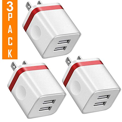 USB Charger, 2.1A/5V Dual 2-Port USB Block Charger Wall Plug Power Adapter Fast Charging Cube Compatible with Apple iPhone, iPad, Samsung Galaxy, Note, HTC, LG & More (3-Pack - Block Charging Duel