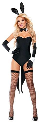 SStarline Women's Naughty Nights Bunny Sexy 4 Piece Costume Set, Black, -