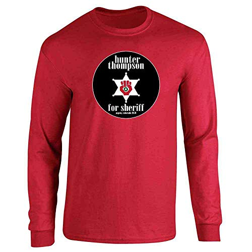 Hunter S Thompson for Sheriff Books Funny Costume Red 2XL Full Long Sleeve Tee ()