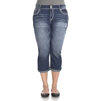 WallFlower Juniors Plus Size Luscious Curvy Cuffed Cropped Skinny Jeans in Ashley Size: 24