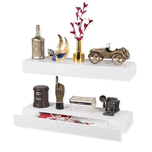 Wall Mount Floating Shelf with Single Drawer Perfect for Living Room Media Storage and Display Set of 2 White price