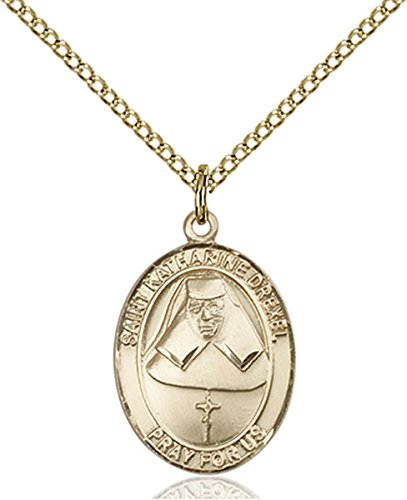 14K Gold Filled Saint Katharine Drexel Medal Pendant, 3/4 - Pendant Medal Katharine Drexel