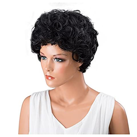 Short Curly Wigs, Inkach Black Women Curly Hairstyle Synthetic Hair Wigs Lace Front Wig