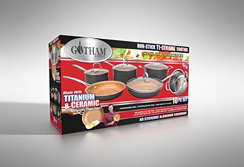 Gotham Steel 1129 Pots and Pans 10 Piece Cookware Set with Nonstick Ceramic Coating by Chef Daniel Green - Graphite, Fry, Stock Steamer Insert