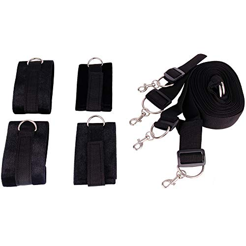 Blueboo Black Handcuffs with Adjustable Straps So Soft and Durable Fit Any Size