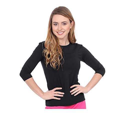 Kosher Casual Women's Modest Swim & Running/Exercise 3/4 Sleeve Shirt Large Black