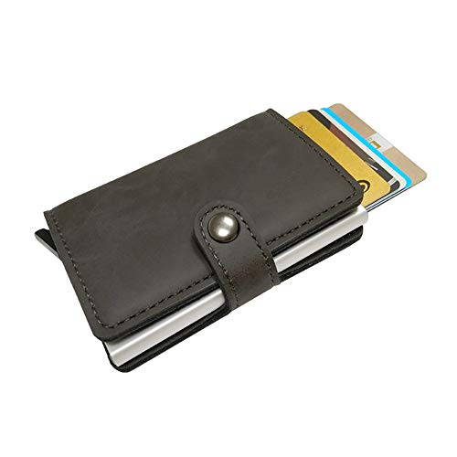 Leather Wallet Minimalist & Slim from GK Galleria with RFID for Men & Women (Grey)