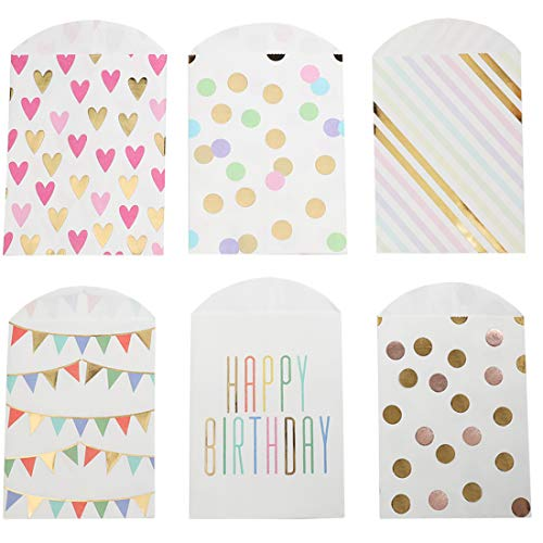 (UNIQOOO 72Pcs Party Favor Treat Bags Bulk, Gold, Rose Gold Foil, 7 ½ x4 ¾ x ½ '' Food Safe Biodegrade Paper,Goody Cookie Candy Bag for Birthday,Halloween,Thanksgiving,Bridal Shower Supplies)