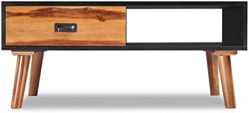 vidaXL Mesa de Centro de Madera de Acacia 90 x 50x 40 cm Color Negro y Marr/ón
