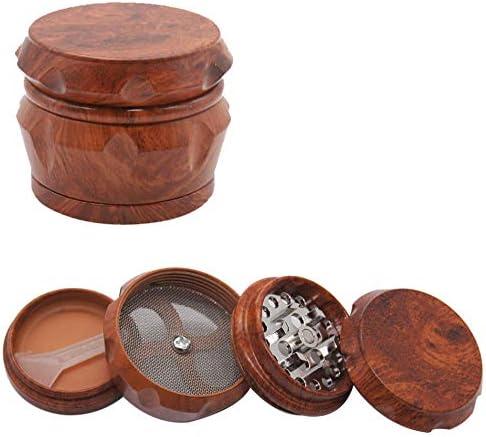 Grinder Moulin /à Epic/é en 4 pi/èces Broyeur Grain de Bois Moulin /à Poivre//R/écipient /à /épices R/étro pour Spice Epices Herbes de Broyage Rouge