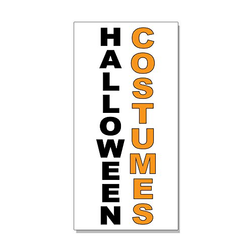Halloween Costumes Black Orange DECAL STICKER Retail Store Sign Sticks to Any Surface ()