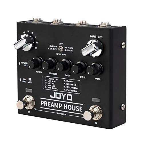 JOYO R-15 Preamp House Pedal, Distortion and Clean Channel, 9 AMPs Preamp Simulator Multi Effect Pedal, 18 Tones for Electric Guitar