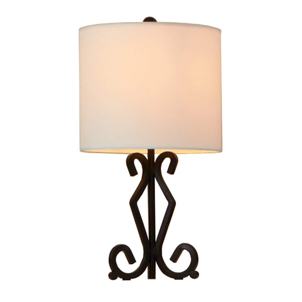 GLANZHAUS Fashion Designed Bronze Iron Scrollwork Base Bedside Table Lamps, Desk Lamp 16.9''H White Lampshape