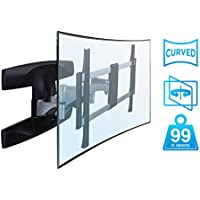 Mount-It! Full Motion Curved TV Wall Mount, Articulating Swivel Tilt Motion for 37 to 70 inch LCD LED OLED 4K Flat Panel Screens up to 99 lbs (MI-9464)