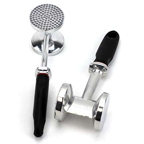 (Stainless Steel Metal Meat Tenderizer Tool, Knuckles Meat Pounder Tenderizer, Roller and Hammer in one pack of 2)