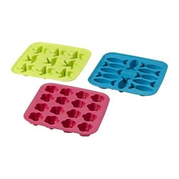 IKEA PLASTIS – bandeja de cubitos de hielo, verde/rosa, turquesa