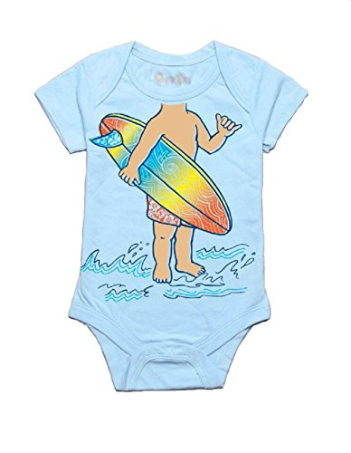 Peek-A-Zoo Infant Baby Become an Animal Short Sleeve Onesie Bodysuit - Surfer Baby Blue (6/12 MO)]()