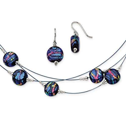 - 925 Sterling Silver Blue Dichroic Glass Drop Dangle Chandelier Earrings 18 Inch Chain Necklace Set Pendant Charm Fancy Ring Fine Jewelry Gifts For Women - Valentines Day Gifts For Her