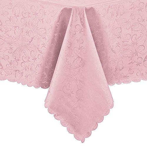 loths Easy Care Dinning Table Cover Waterproof Oil-Proof Spill-Proof Durable Tablecloth (Pink, Round 60