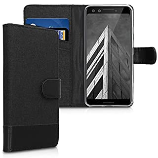 kwmobile Wallet Case for Google Pixel 3 - Fabric and PU Leather Flip Cover with Card Slots and Stand - Anthracite/Black (B07JZQ8K7M) | Amazon price tracker / tracking, Amazon price history charts, Amazon price watches, Amazon price drop alerts