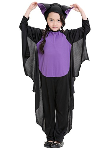Joygown Girl's Bat Halloween Party One Piece Hooded Outfits Costume Cosplay S