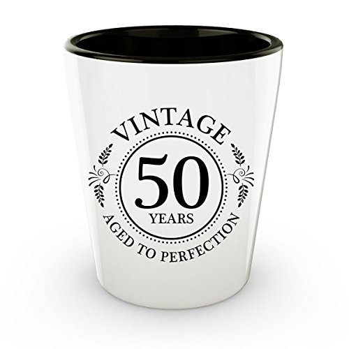 50th Birthday Shot Glass - 50 Years - Aged To Perfection - F