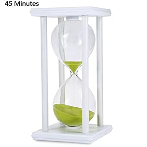 Hourglass Sand Timer 45 Minutes Wood Sand Timer for Kitchen Office School Decorative Use,White Green