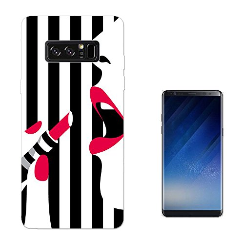001416 - Trendy Make Up Bloggers Favourite Black And White Sexy Lips Lipstick SAMSUNG Galaxy NOTE 8 CASE Gel Silicone All Edges Protection Case Cover