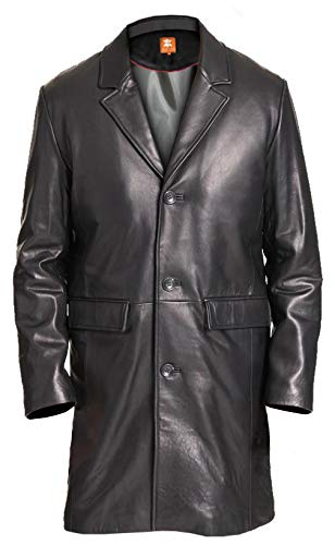 Mens 3/4 Length Leather Coat - 2