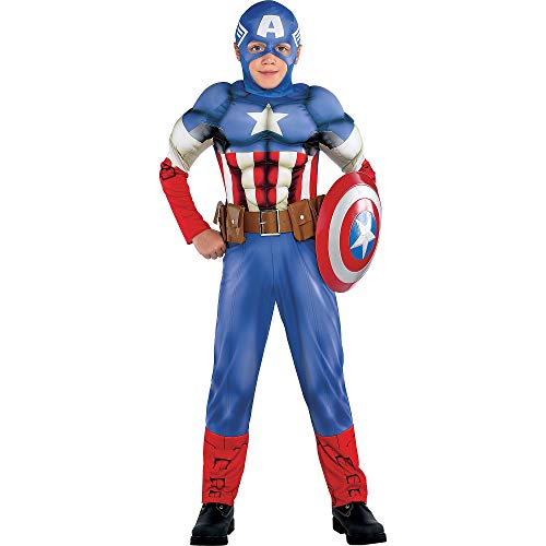 - Costumes USA Captain America Muscle Costume Classic for Boys, Size Large, Includes a Padded Jumpsuit and a Mask