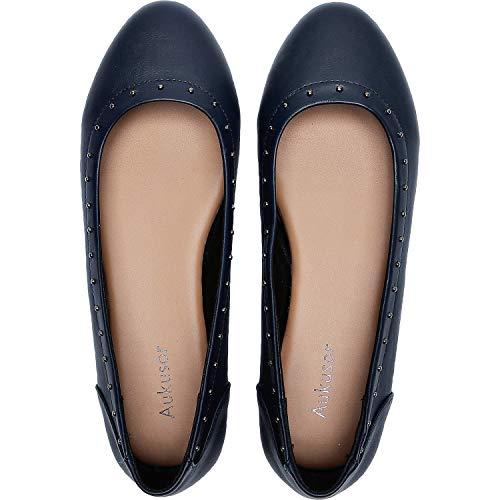 Aukusor Women's Wide Width Flat Shoes - Cozy Pointy Toe PU Leather Slip On Ballet Flat.(Blue 181171,10W)