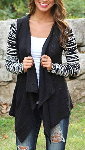 In Casual Baggy Confortevole Schwarz Giacca Lunga Elegante Donne Giaccone Pattern Stampate Donna Manica A Cappotto Battercake Autunno Casuale Maglia Top Irregular xF6BYHYq