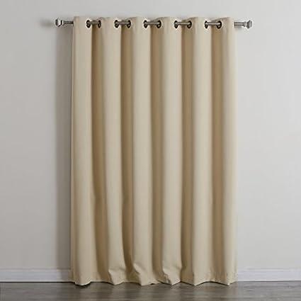 BWW Best Home Fashion Beige Wide Width Grommet Top Thermal Blackout Curtain 80W X 84L 1 Panel