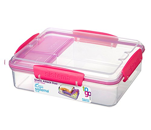 Sistema To Go Collection Snack Attack Duo Food Storage Container, 32.9 oz, Clear with (Snack Attack)