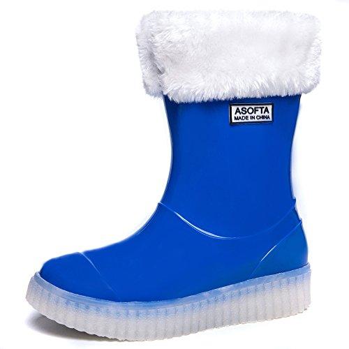 Asofta Kids Boys Girls Winter Snow Rain Light Up Boots Water Proof Led Energy Shoes  1 M  Us  Little Kid   32 Eu Fr   Blue