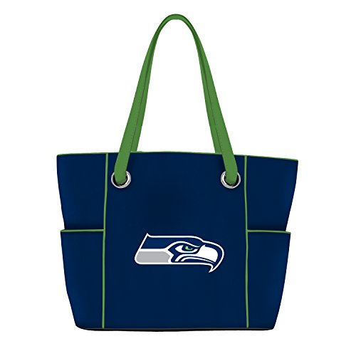 Seattle Seahawks Embroidered Football - Little Earth Womens  NFL Seattle Seahawks Deluxe Tote Bag with Embroidered Logo