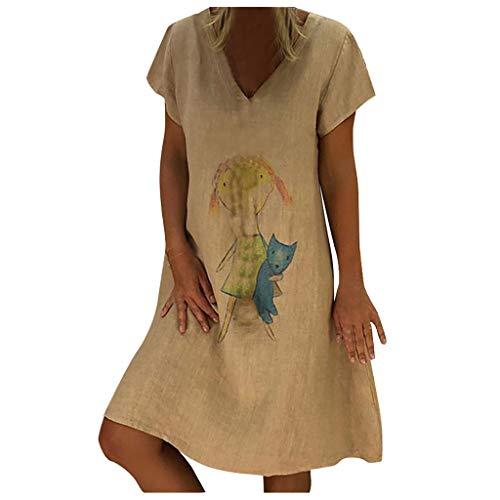 Women's Cotton Linen Dress Summer Midi Dresses Cartoon Print Short Sleeve Dress or Tunic -