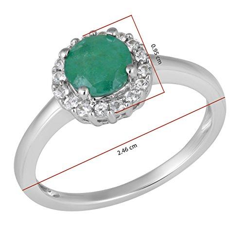 Jewelili femme  9carats (375/1000)  Or blanc|#Gold Rond   Vert Smaragd Saphir FASHIONRING