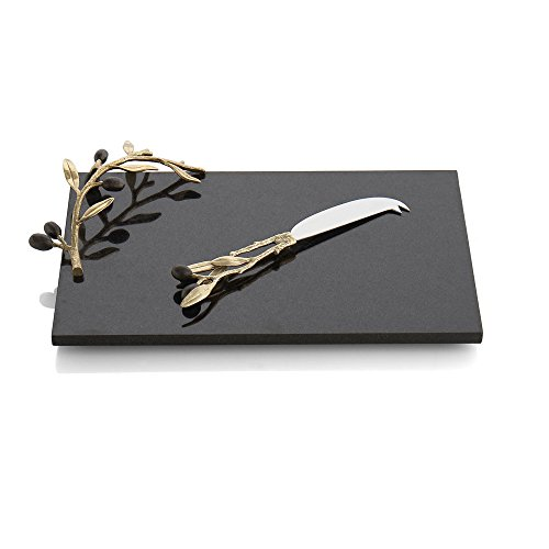 Jewel Olive - Michael Aram Olive Branch Cheese Board with Knife, Gold