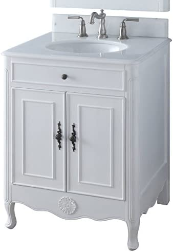 26″ Benton Collection Daleville Antique White Shabby Chic Bathroom Sink Vanity 838AW