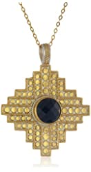 "Anna Beck Designs ""Gili Black Onyx"" 18k Gold-Plated Black Onyx Art Deco Pendant Necklace, 18"""